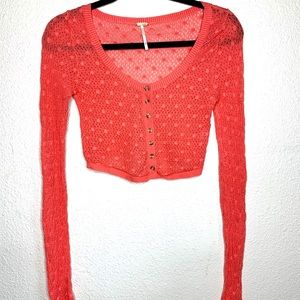 Free people crochet button cardigan top